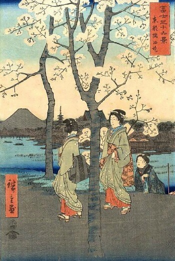 traditional japanese painting of mount fuji and ladies viewing cherry blossoms