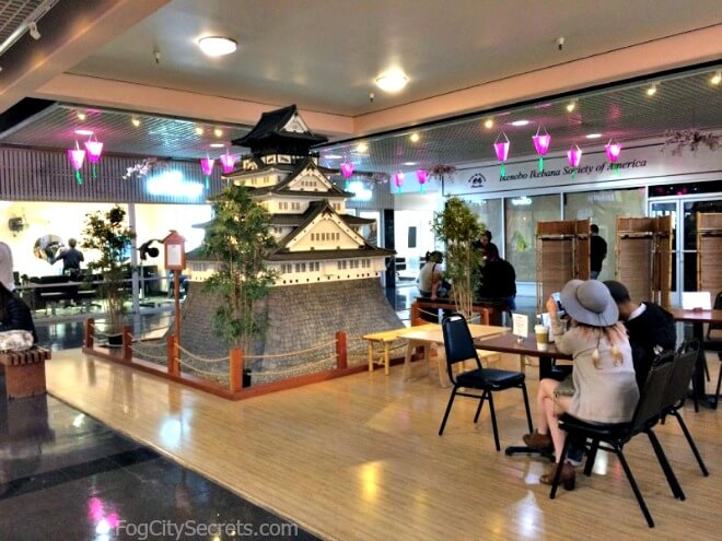 View of Osaka Castle model and cafe in East Mall, San Francisco Japantown