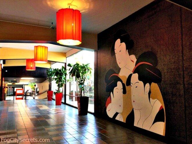 Wall mural in entrance to Hotel Kabuki, Japantown San Francisco