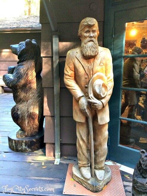 carved wooden john muir statue in muir woods