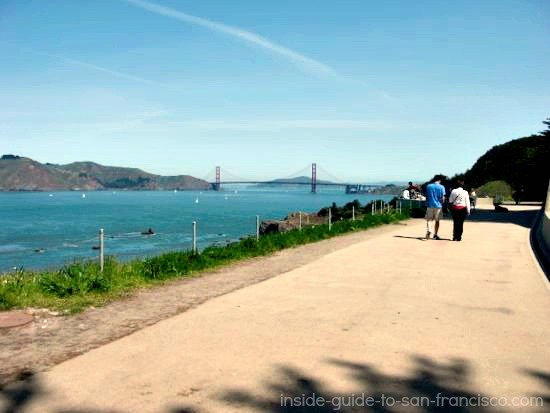 Lands End Coastal Trail, paved stretch with view of bridge
