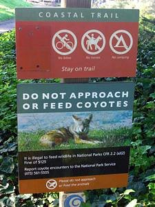 Trail sign warning of coyote presence