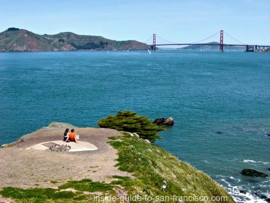 Couple admiring the view of the Golden Gate Bridge, at Lands End Point