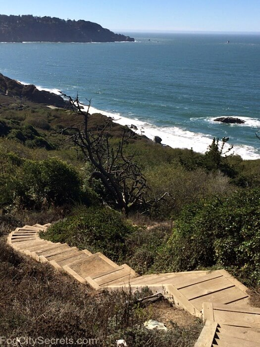 Long, wooden stairway on the Batteries to Bluffs trail, San Francisco. Marshall's Beach below.