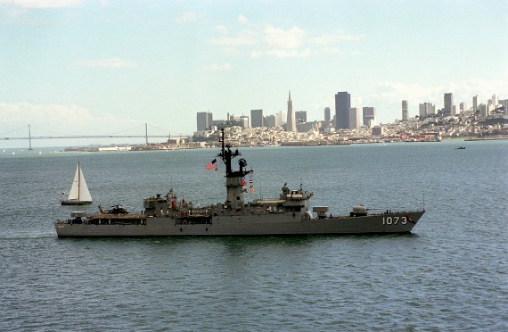 Parade of Ships, with a destroyer sailing past the San Francisco skyline in 1981
