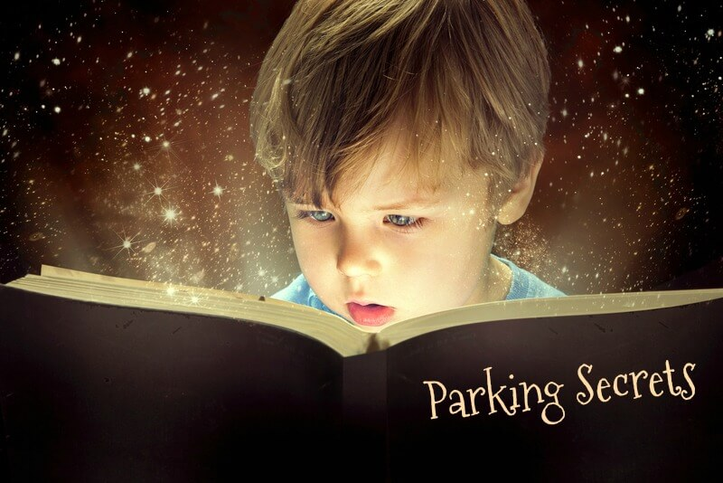 Boy reading magic book of parking secrets.