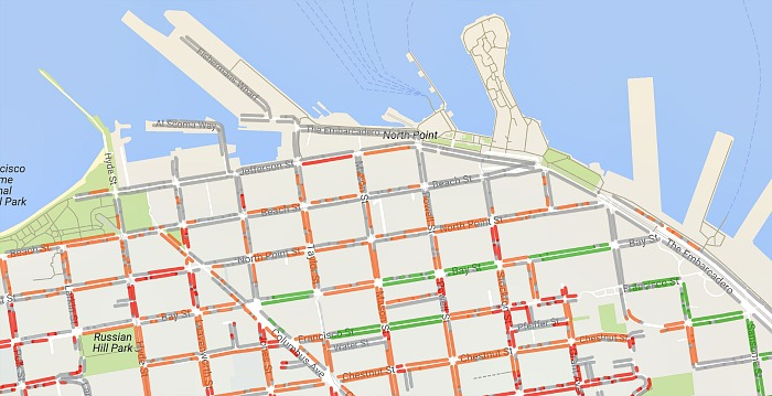 Map of street parking available in Fisherman's Wharf, from the SpotAngels parking app.