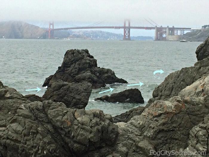 Rocks at the northern end of China Beach San Francisco at high tide.
