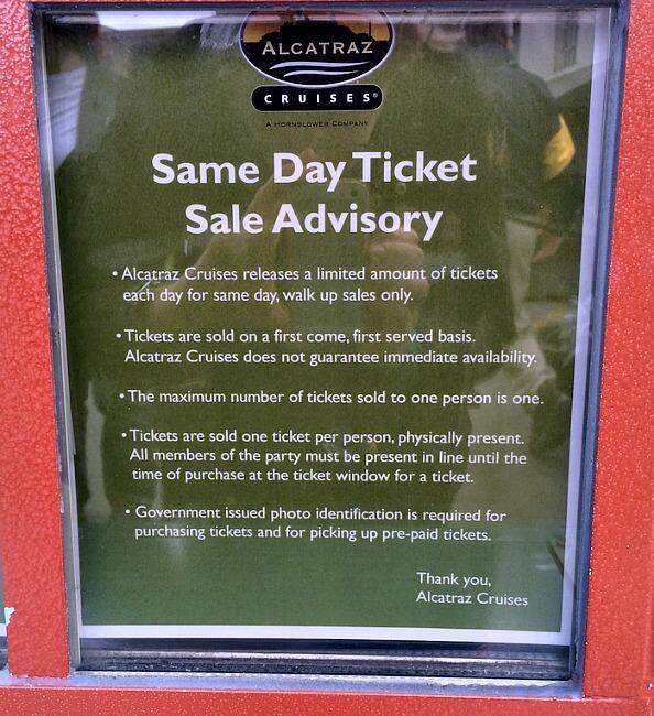 Alcatraz same day ticket advisory sign