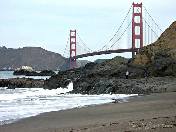 san francisco beaches, baker beach, eastern end near the golden gate bridge