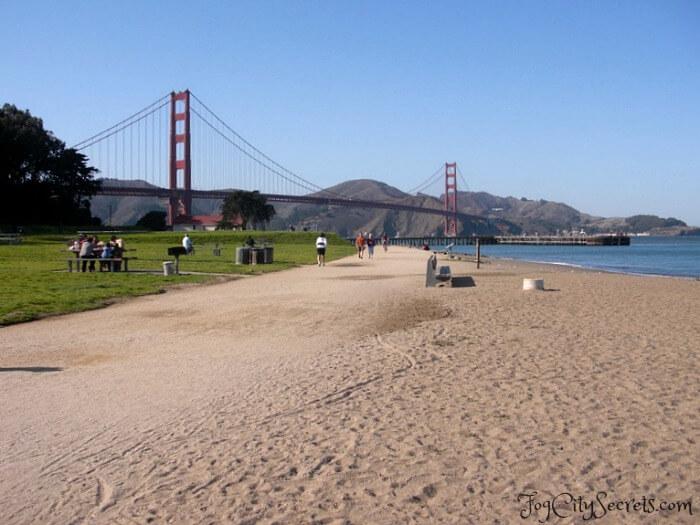 san francisco beaches, crissy field, view of golden gate bridge
