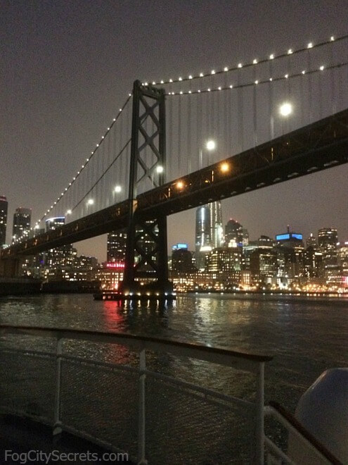 San Francisco Bay dinner cruise, going under Bay Bridge