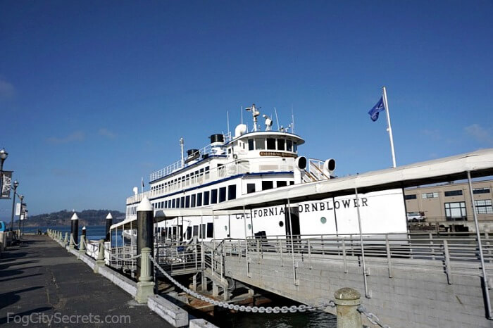 California Hornblower yacht, at Pier 3 in San Francisco