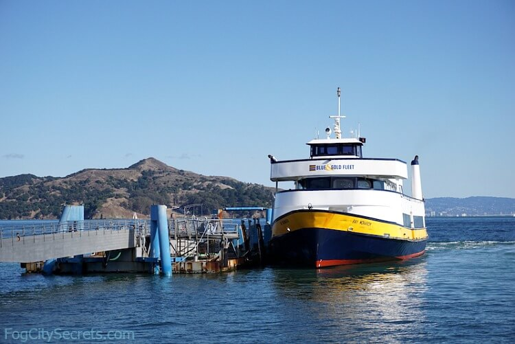 Blue and Gold Ferry at Sausalito dock.