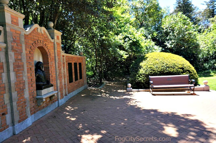 Brick wall with bust of Bard and bronze plaques, Shakespeare Garden Golden Gate Park