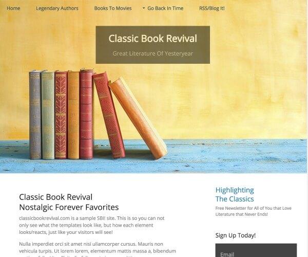 Books template example, Solo Build It