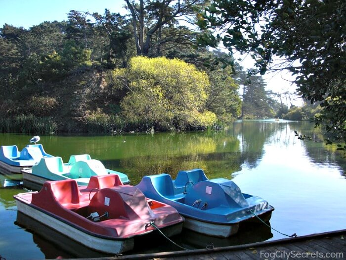 stow lake paddle boats at dock, golden gate park