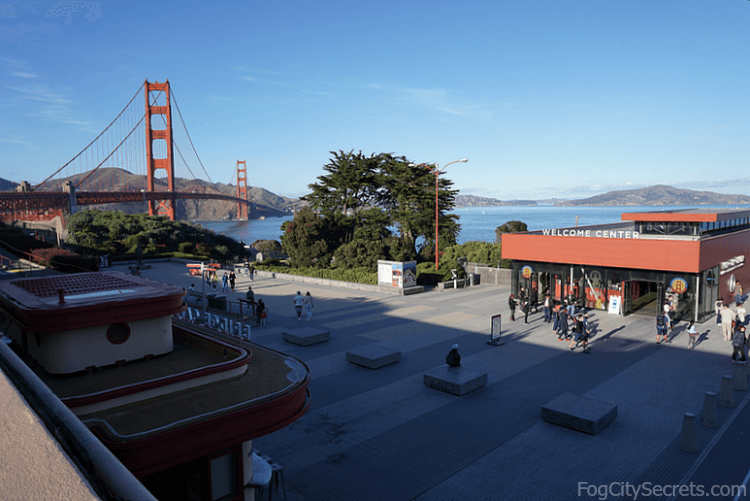 Welcome Center and Golden Gate Bridge, late afternoon.